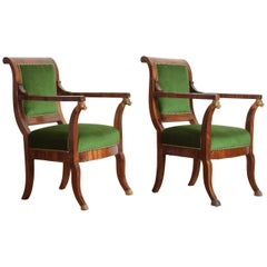 Pair of Italian, Tuscan, Empire Period Walnut and Giltwood Armchairs