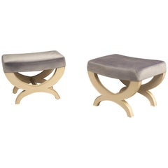 Pair of Parchment Stools, USA, 2019