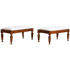 Pair of Italian Neoclassical Cherrywood Upholstered Low Benches