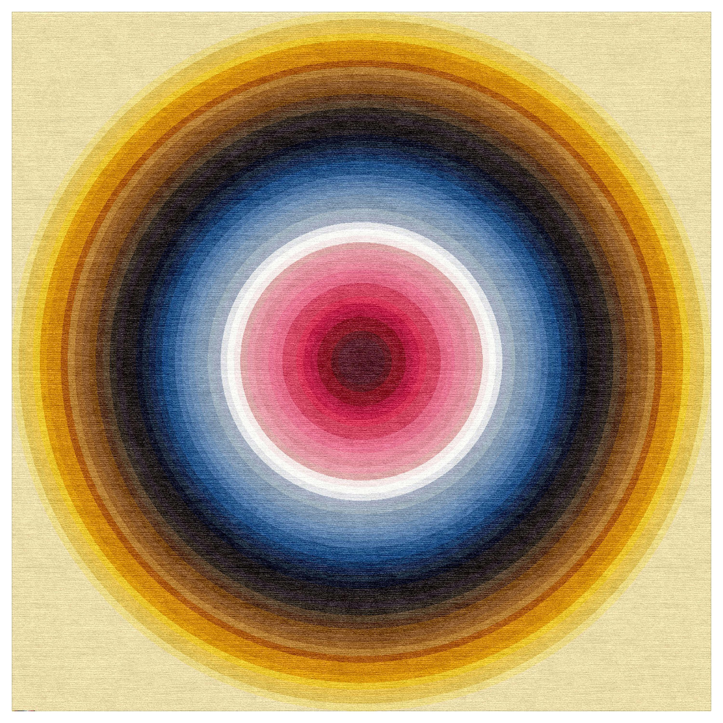 Color Wheel Tapestry or Carpet Yellow Base Blue Red Tibetan Wool Customizable