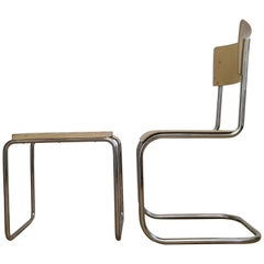 Chrome Bauhaus Mart Stam Chair and Stool, 1930s