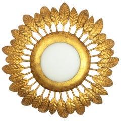 French 1950s Gilt Iron and Opaline Glass Flower Burst Sunburst Light Fixture