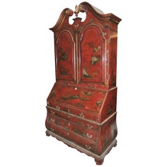 19th Century English Lacquered Gilt Chinoisoire Bookcase Secretary or Desk
