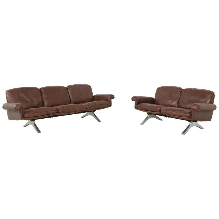 Vintage 1970s Vintage De Sede DS 31 Sofa Set Dark Cognac Brown Leather Couch For Sale