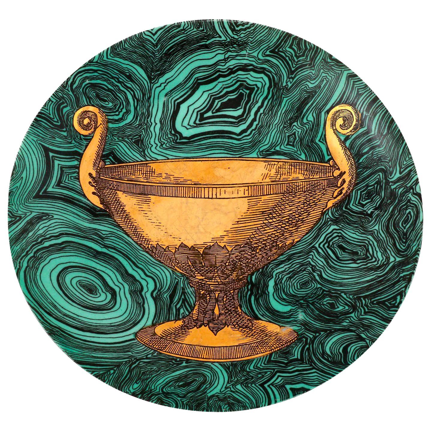Piero Fornasetti Malachite Green Plate Stoviglie No. 4, Milano, Italy, 1955