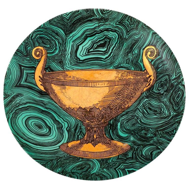 Piero Fornasetti Malachite Green Plate Stoviglie No. 4, Milano, Italy, 1955 For Sale