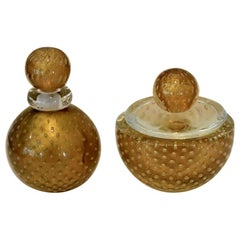 Murano Italian Glass Vanity Lidded Jar and Stoppered Vase Set by Seguso