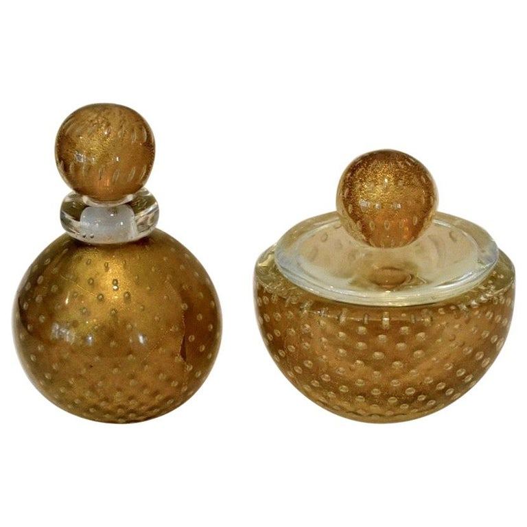 Murano Italian Glass Vanity Lidded Jar and Stoppered Vase Set by Seguso For Sale