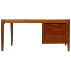 Rare 1970s Extendable Teak and Walnut Writing Table, Drawers, Freestanding Desk
