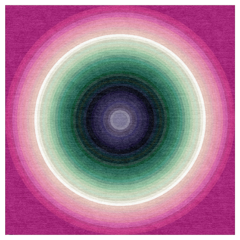 Color Wheel Tapestry or Carpet Pink Base Green Purple Tibetan Wool Customizable