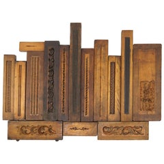 Collection of 54 19th Century Carved Wood Molds for Castings, Sizes Vary