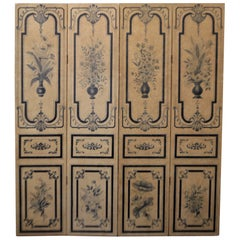 19th Century Hand Painted Para-Vent, Screen, Painted in Navy Blue on Beige