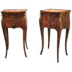Pair of French Tulipwood Bedside Cabinets or Nightstands