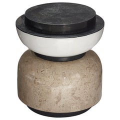 Alpha Contemporary Indoor or Outdoor Round Stone Side Table