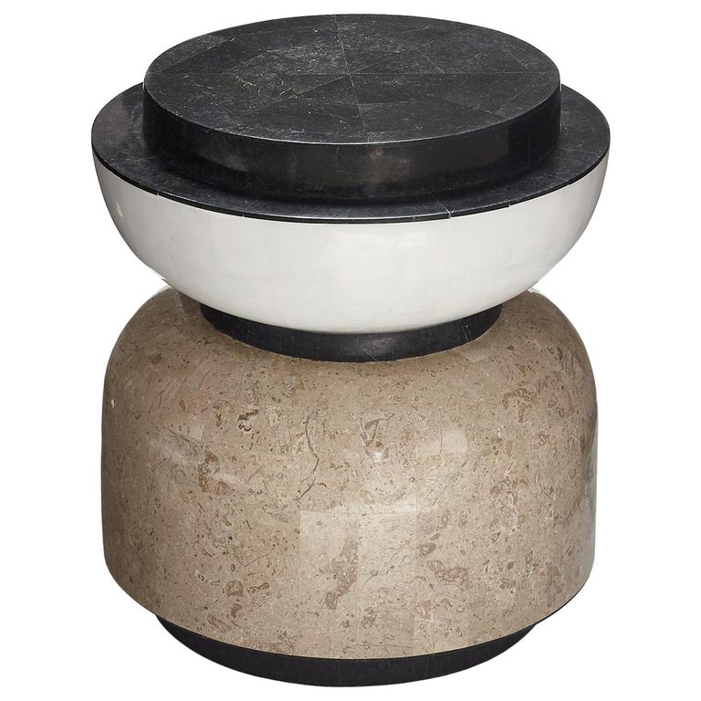 Alpha Contemporary Indoor or Outdoor Round Stone Side Table For Sale