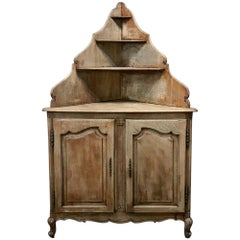 Antique Country French Stripped Corner Cabinet