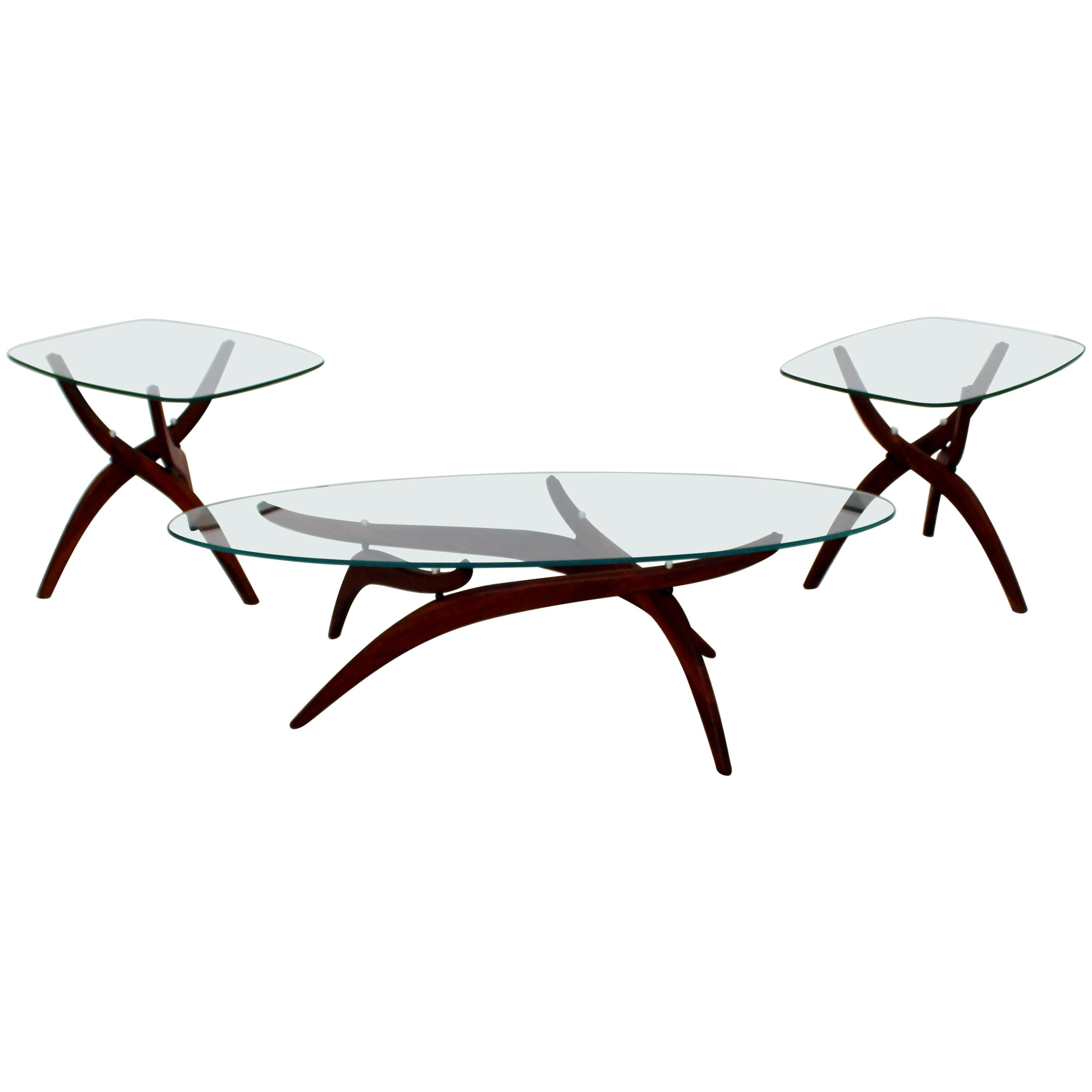 cb8eac542f2b Forest Wilson Walnut and Glass Boomerang Coffee Table