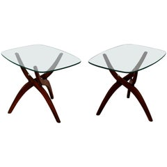 3b8bdd8616e1 Mid-Century Modern Forest Wilson Pair of Walnut Glass Sculptural Side End  Tables