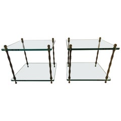 Pair of 1960s Glass and Brass Side Tables