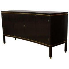 Mid-Century Modern Rare Edward Wormley for Dunbar Curved Mahogany Brass Credenza
