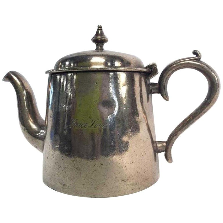 Vintage Hotel Silver Plated Teapot For Sale