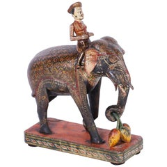 Anglo Indian Carved Wood Elephant and Rider