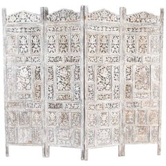 Anglo Indian 4 Panel Folding Screen
