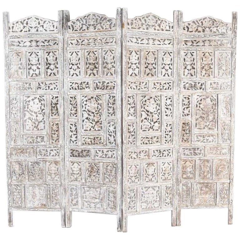 Anglo Indian 4 Panel Folding Screen For Sale