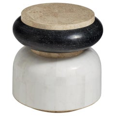 Beta Contemporary Indoor or Outdoor Round Stone Side Table