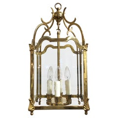 English Four-Light Hanging Lantern or Light Fixture of Brass with Beveled Glass