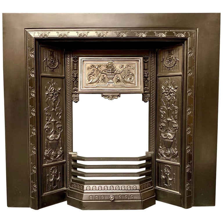 19th Century Victorian Cast Iron Fireplace Insert For Sale