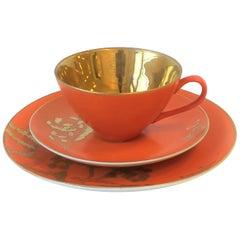 Set of 8 Dorothy Thorpe California Orange and Gold Matte Ceramic Dining Set