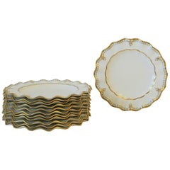 English Royal Crown Derby Porcelain Dinner Plates in White and Gold, Set of 12