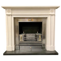 Large Regency Style Carved Statuary Marble Fireplace Surround