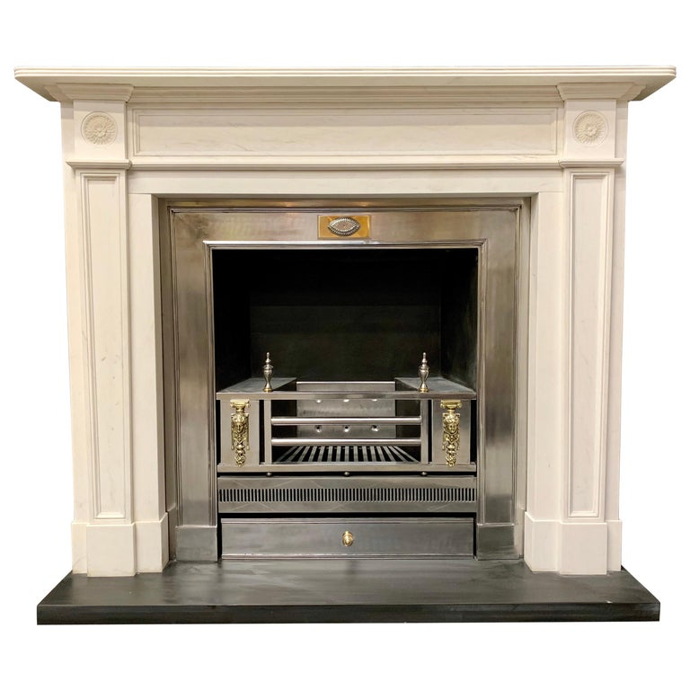 Large Regency Style Carved Statuary Marble Fireplace Surround For Sale