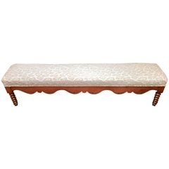 Delightful 6 Foot Long Antique Scalloped Wood Bench with Animal Print Upholstery
