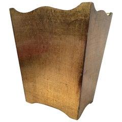Measure Gold Leafed Wood Waste Basket