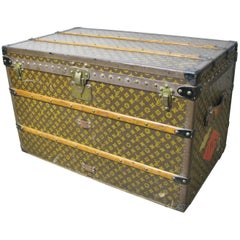 Vintage Late 1920s Louis Vuitton Steamer Trunk with Original Trays and Label