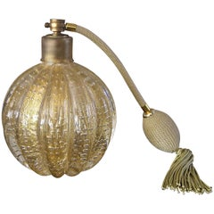 Large Barovier Murano Gold Controlled Bubbles Perfume Bottle Atomizer