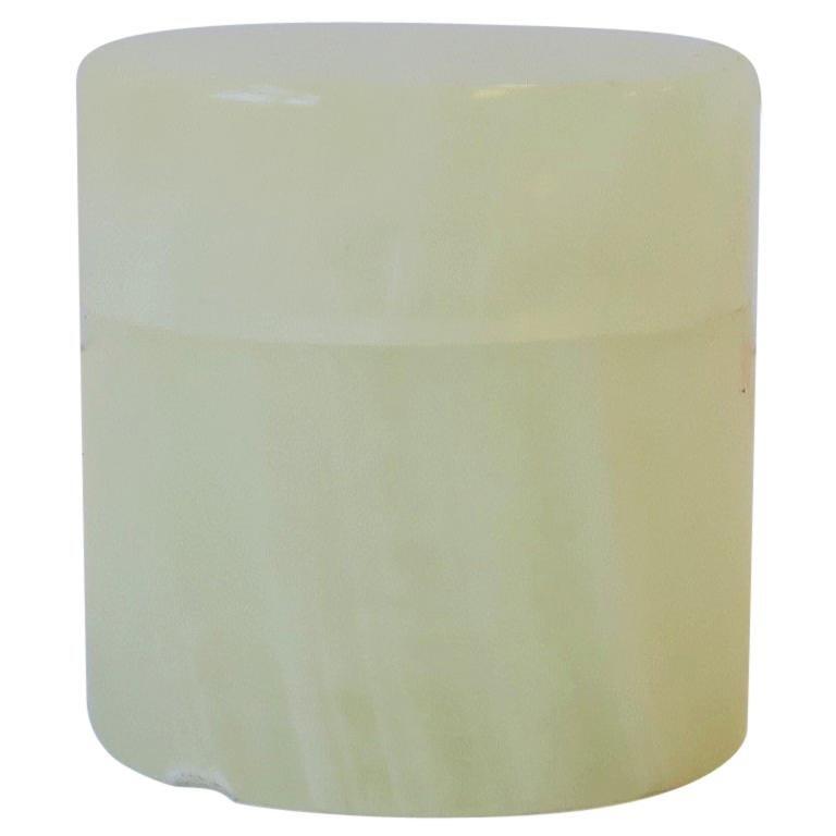 Italian White Onyx Marble Round Box For Sale