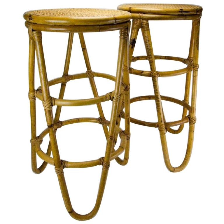 Mid-Century Modern Bamboo Bar Stools For Sale