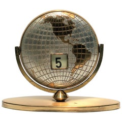 Midcentury Brass World Globe Desk Calendar