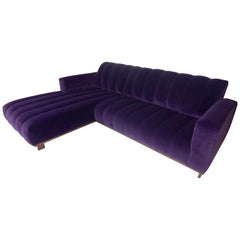 Modern Two-Piece Sectional Sofa with Channeled Velvet Upholstery