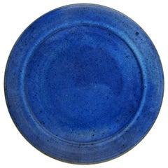 Helle Alpass Glazed Stoneware Dish in Deep Blue Glaze, 1960s-1970s