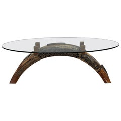 """Oval """"Postpile"""" Cocktail or Coffee Table with Exotic Inlay, 1990s"""