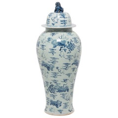 Monumental Chinese Blue and White Lidded Baluster Jar with Protector