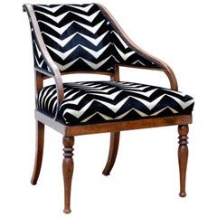 Neoclassical Revival Slipper Chair in Graphic Cut Velvet