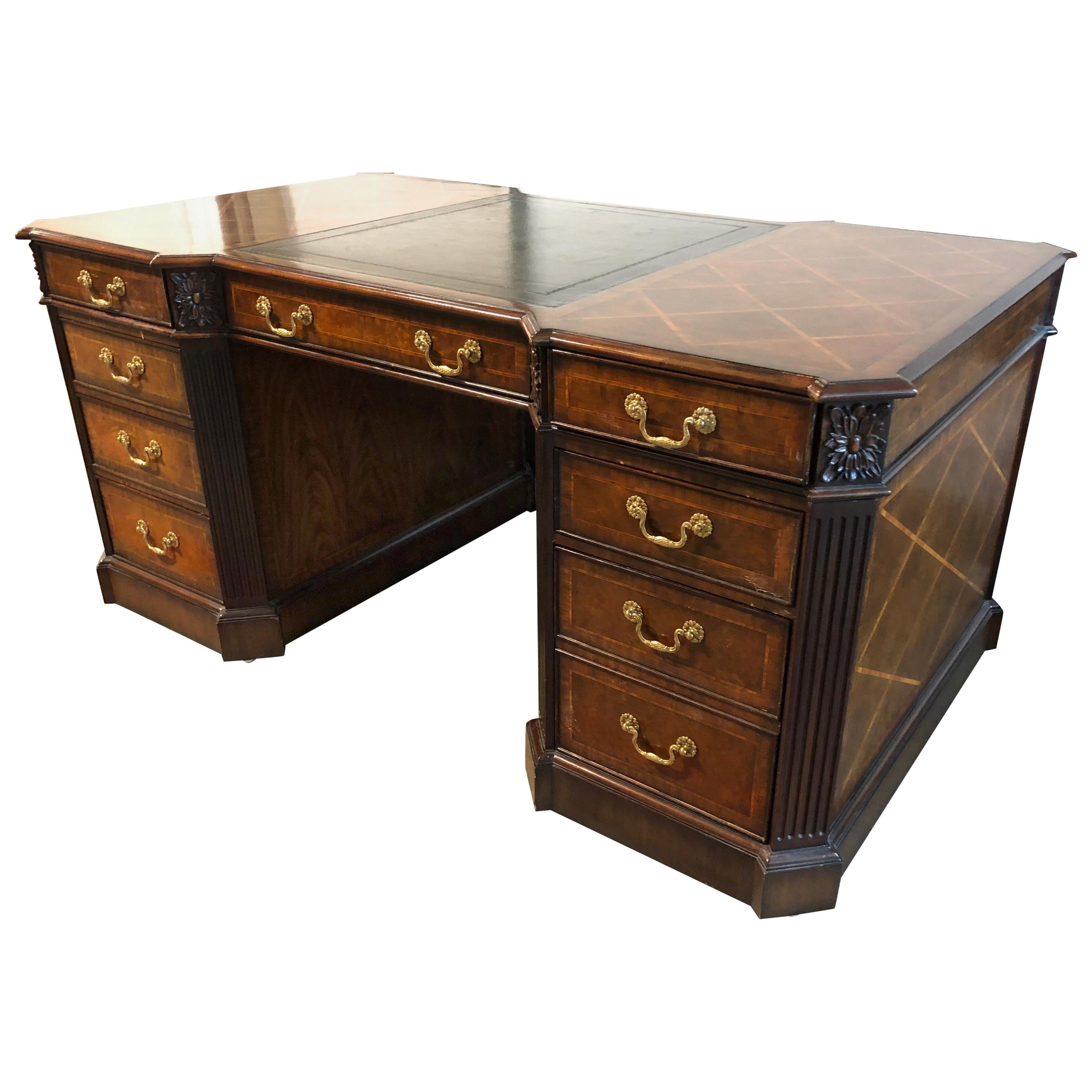 Maitland Smith Partners Wood And Leather Desk
