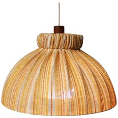 Mid-Century Modern Hanging Teak Ceiling Light with Large Fabric Shade