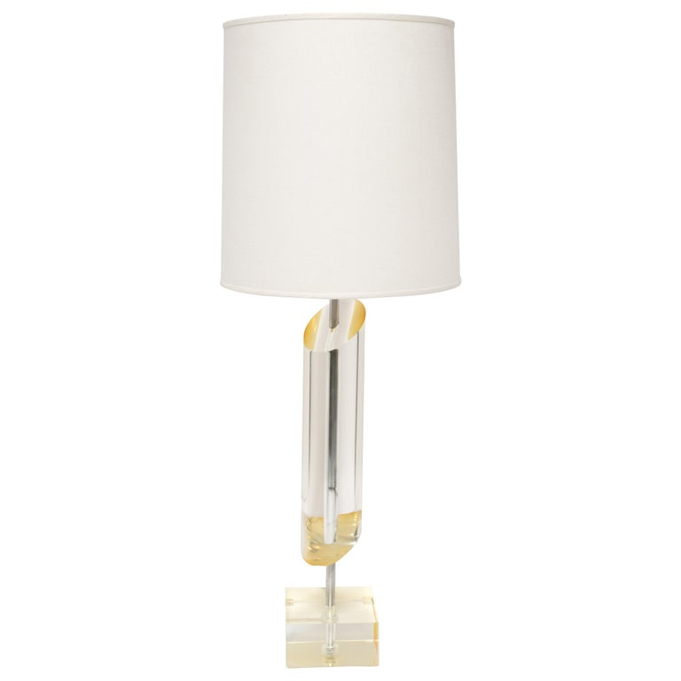 Mid-Century Golden Lucite Architectural Column Lamp For Sale